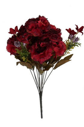 Yapay Çiçek Deposu - Yapay Çiçek 11 Dal Lüx Karanfil Aranjmanı Bordo