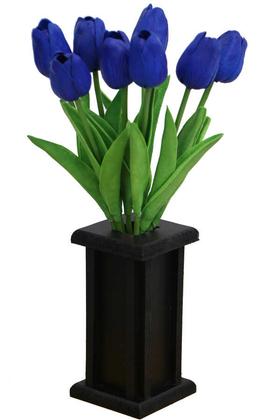 Yapay Çiçek Deposu - Ahşap Vazoda 8li Islak Lale Demeti Saks Mavi 32 cm