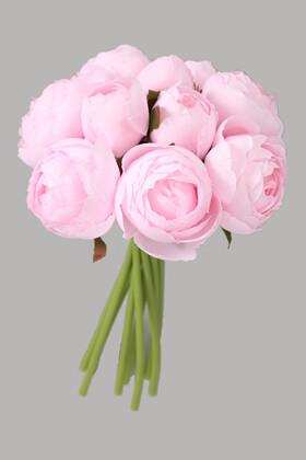 Yapay Çiçek Deposu - 9lu Kaliteli Şakayık Gül Buketi Pudra Lila