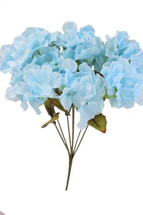 Yapay Çiçek Deposu - Yapay Çiçek Ortanca Demeti 40 cm Açık Mavi