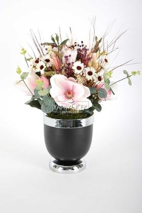 Yapay Çiçek Deposu - Metal Vazoda Lüx Yapay Çiçek Tanzimi Belgrad