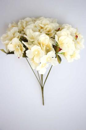 Yapay Çiçek Deposu - Yapay Çiçek Ortanca Demeti 40 cm Krem