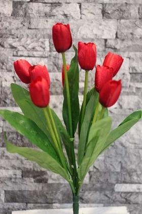 Yapay Çiçek Deposu - Yapay Çiçek Lale Demeti 9 Dallı Kırmızı
