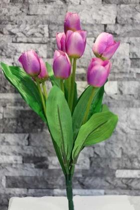 Yapay Çiçek Deposu - Yapay Çiçek Lale Demeti 9 Dallı Lila