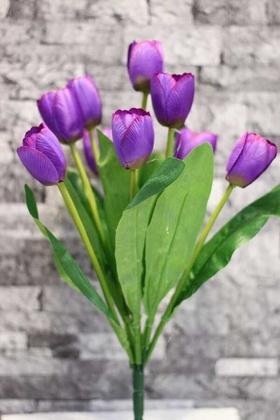 Yapay Çiçek Deposu - Yapay Çiçek Lale Demeti 9 Dallı Mor
