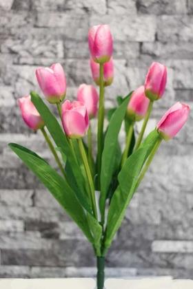 Yapay Çiçek Deposu - Yapay Çiçek Lale Demeti 9 Dallı Pembe