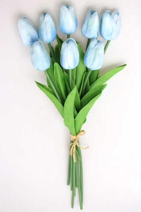 Yapay Çiçek Deposu - Yapay 8li Islak Lale Buketi Gerçek Doku Bebe Mavisi