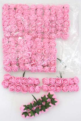 Yapay Çiçek Deposu - 144lü Mini Lateks Gül Açık Pembe