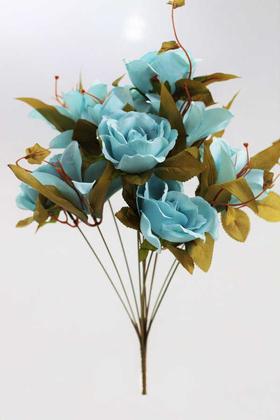 Yapay Çiçek Deposu - Yapay Çiçek Lüx Lilyum Gül Buketi Açık Mavi