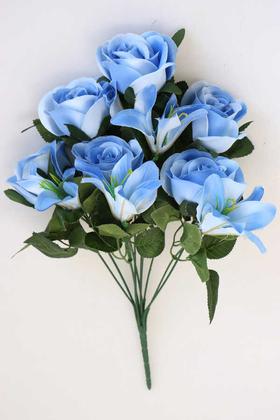 Yapay Çiçek Deposu - Yapay Çiçek 11 Dallı Lilyum Gül Buketi Mavi