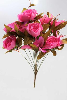 Yapay Çiçek Deposu - Yapay Çiçek Lüx Lilyum Gül Buketi Pembe