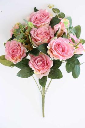 Yapay Çiçek Deposu - 11 Dallı Lüx Soft Gül Demeti Pembe
