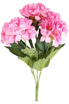Yapay Çiçek Deposu - Yapay Çiçek Büyük 5 Dal Delüx Damarlı Ortanca Demeti Canlı Pembe