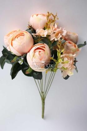 Yapay Çiçek Deposu - Yapay Çiçek Lüx İri Şakayık Gül Aranjmanı Somon