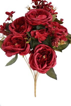 Yapay Çiçek Deposu - Yapay 12 Dal Lüx Kumaş Gül Aranjmanı Kırmızı
