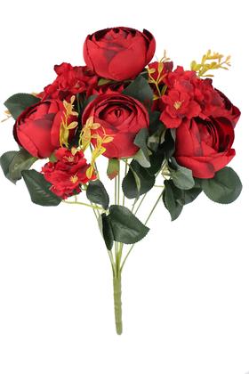 Yapay Çiçek Deposu - Yapay Çiçek Lüx İri Şakayık Gül Aranjmanı Kırmızı