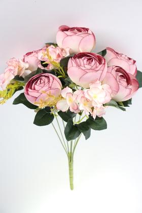 Yapay Çiçek Deposu - Yapay Çiçek Lüx İri Şakayık Gül Aranjmanı Pudra Mor