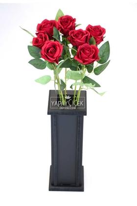Yapay Çiçek Deposu - Ahşap Vazoda Yapay 7li Kadife Gül Dalı 50 cm Kırmızı
