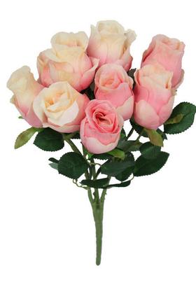 Yapay Çiçek Deposu - Yapay Çiçek 9 Dal Lüx Tombul Gül Aranjmanı Açık Pembe