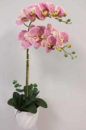 Yapay Çiçek Deposu - Yapay Çiçek Melamin Saksıda 2li Orkide Tanzim Fuşya Benekli 75 cm