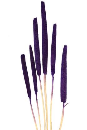Yapay Çiçek Deposu - 6 Adet Doğal Kadife Dokulu Babala Kuru Bitki Mor