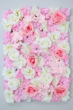 Yapay Çiçek Deposu - Yapay Lüx Duvar Çiçeği Ortanca ve Gül Zemin Kaplama Duvarı 40x60 cm Krem-Pembe