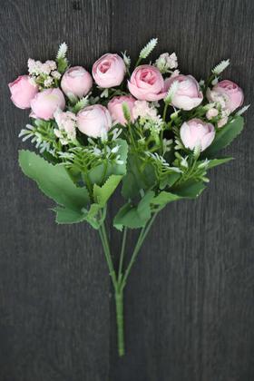 Yapay Çiçek Deposu - Yapay Çiçek Minik Cipsolu Şakayık Gül Demeti Pembe