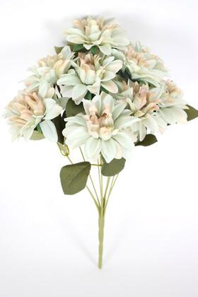 Yapay Çiçek Deposu - Gerçeğe Yakın Dahlia Yıldız Çiçeği 40 cm Mint Yeşili