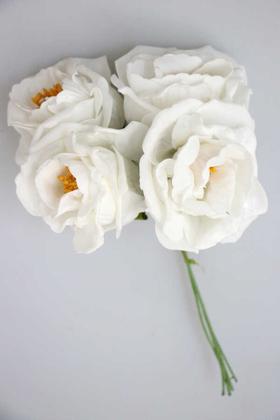 Yapay Çiçek Deposu - Büyük Tohumlu Lüx Lateks Gül 4lü Beyaz