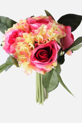 Yapay Çiçek Deposu - Yapay Çiçek Ortancalı Gül Buketi Pembe