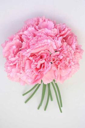 Yapay Çiçek Deposu - Yapay Çiçek 8li Karanfil Demeti Pembe