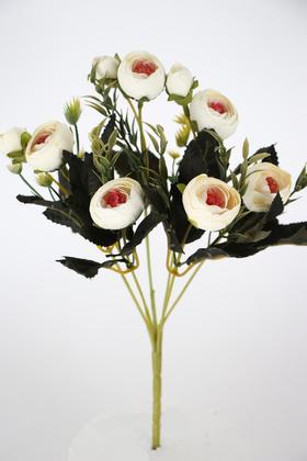 Yapay Çiçek Deposu - Yapay Çiçek Pastel Şakayık Gül Demeti 30cm Kırık Beyaz