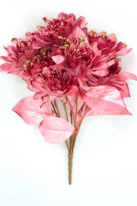 Yapay Çiçek Deposu - Yapay Çiçek Payetli Büyük Yıldız Gülü Demeti Gül Kurusu