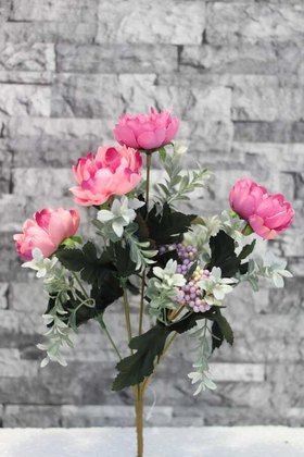 Yapay Çiçek Deposu - Yapay Çiçek Pembe Mercan Gül Demeti