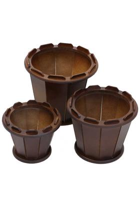 Yapay Çiçek Deposu - Ahşap Saksı 3lü Set Sepet Model Kahverengi