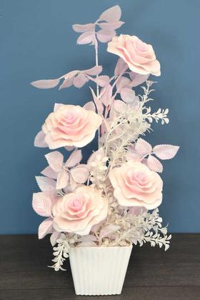 Yapay Çiçek Deposu - Plastik Saksıda Simli Yapay Gül Tanzim 50cm Pembe