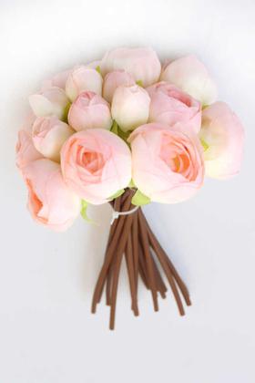 Yapay Çiçek Deposu - Yapay Çiçek İnce İpek 16lı Gül Demeti Pudra