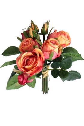 Yapay Çiçek Deposu - Yapay Çiçek Gonca Güllü Buket 9 Dal Somon-Pembe