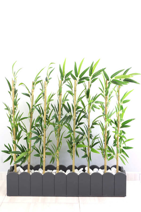 Yapay Çiçek Deposu - Yapay Bambu Seperatör Paravan İri Yapraklı(20x100x110 cm)