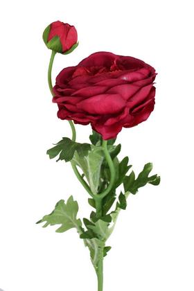 Yapay Çiçek Deposu - Yapay çiçek soft tek dal tomurcuklu gül (bordo)