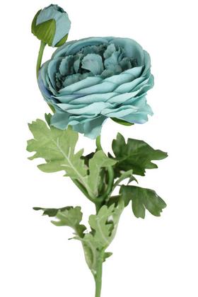 Yapay Çiçek Deposu - Yapay çiçek soft tek dal tomurcuklu gül (turkuaz)
