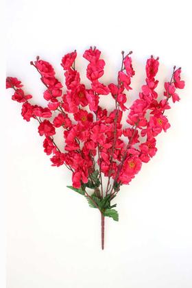 Yapay Çiçek Deposu - Yapay Büyük 7 Dallı Bahar Dalı Demeti Fuşya 60 cm