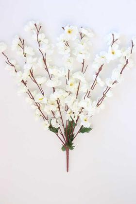 Yapay Çiçek Deposu - Yapay Büyük 7 Dallı Bahar Dalı Demeti Beyaz 60 cm