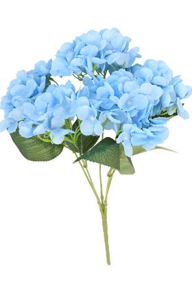 Yapay Çiçek Deposu - Yapay Çiçek 5 Dal Ortanca Demeti Bebek Mavisi