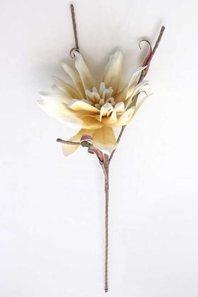 Yapay Çiçek Deposu - Exclusive Tropik İri Çiçekli Egzotik Manolya Uzun Dal 75 cm Krem