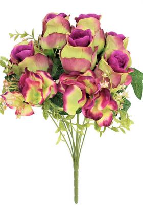 Yapay Çiçek Deposu - Yapay Çiçek 9 Dal Lüx Tombul Gül Aranjmanı Mor