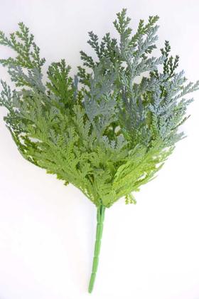 Yapay Çiçek Deposu - Yapay Islak Ara Dal Bitkisi Demeti 40 cm Yeşil-Gri