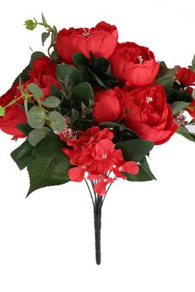 Yapay Çiçek Deposu - Yapay Çiçek Lüx Marsilya Gülü Aranjmanı Kırmızı