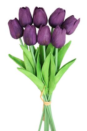 Yapay Çiçek Deposu - Yapay 8li Islak Lale Buketi Gerçek Doku Ebruli Mor