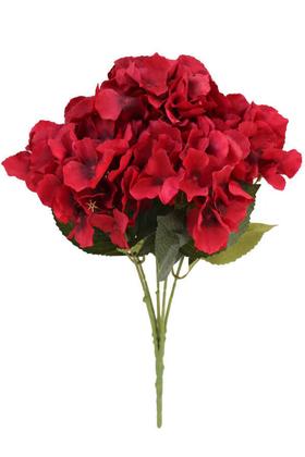 Yapay Çiçek Deposu - Yapay Çiçek 5 Dal Lüx Ortanca Demeti Kırmızı